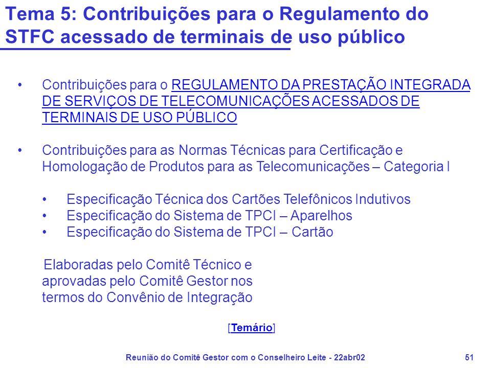 Reunião do Comitê Gestor com o Conselheiro Leite - 22abr0251 Tema 5: Contribuições para o Regulamento do STFC acessado de terminais de uso público •Contribuições para o REGULAMENTO DA PRESTAÇÃO INTEGRADA DE SERVIÇOS DE TELECOMUNICAÇÕES ACESSADOS DE TERMINAIS DE USO PÚBLICOREGULAMENTO DA PRESTAÇÃO INTEGRADA DE SERVIÇOS DE TELECOMUNICAÇÕES ACESSADOS DE TERMINAIS DE USO PÚBLICO •Contribuições para as Normas Técnicas para Certificação e Homologação de Produtos para as Telecomunicações – Categoria I •Especificação Técnica dos Cartões Telefônicos Indutivos •Especificação do Sistema de TPCI – Aparelhos •Especificação do Sistema de TPCI – Cartão Elaboradas pelo Comitê Técnico e aprovadas pelo Comitê Gestor nos termos do Convênio de Integração [Temário]Temário