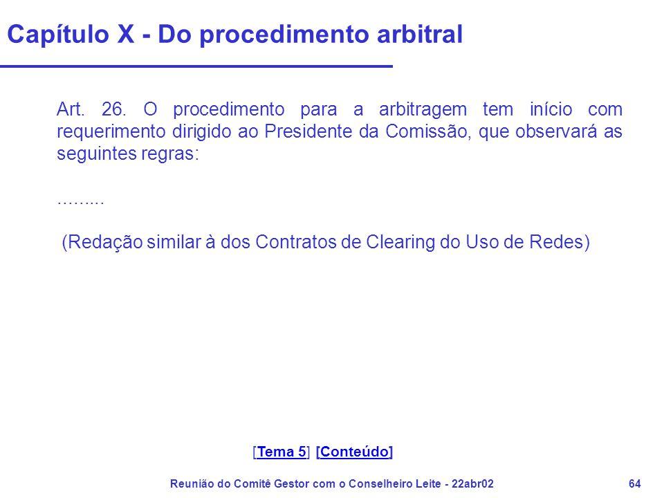 Reunião do Comitê Gestor com o Conselheiro Leite - 22abr0264 Capítulo X - Do procedimento arbitral Art. 26. O procedimento para a arbitragem tem iníci