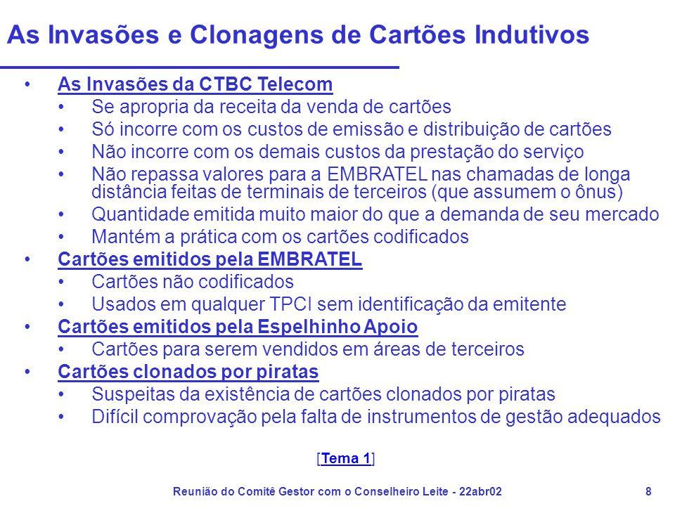 Reunião do Comitê Gestor com o Conselheiro Leite - 22abr029 Os Valores de TUPs Apropriados pela EMBRATEL •Registro, Apuração, Valoração e Lançamento de débitos no Encontro de Contas, referentes às chamadas de TUPs, feitos pela EMBRATEL, estão em desacordo com o novo Modelo das Telecomunicações Brasileiras (válido para as chamadas registradas a partir de 01abr98) •Valoração das chamadas eram feitas como se fossem originadas de Terminais de Assinantes (acertos parciais e separados com cada concessionária) •Não atualização sistemática das tabelas de cadências para queima de créditos em cartões indutivos nas chamadas de longa distância •Não assume responsabilidade por atividades necessárias à prestação do STFC de longa distância com CSP21 feitas de TUPs: da realização do acesso à arrecadação de valores, passando pela geração de cadências e pelo atendimento ao usuário [Continua]Continua