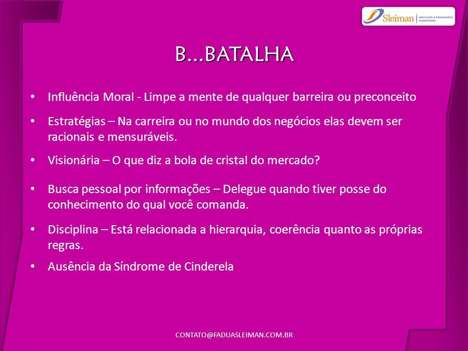 B...BATALHA • Influência Moral - Limpe a mente de qualquer barreira ou preconceito CONTATO@FADUASLEIMAN.COM.BR • Visionária – O que diz a bola de cristal do mercado.