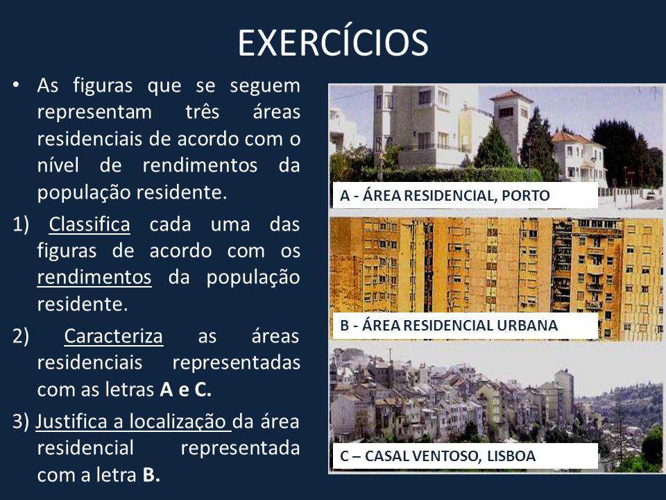 EXERCÍCIOS • As figuras que se seguem representam três áreas residenciais de acordo com o nível de rendimentos da população residente. 1) Classifica c