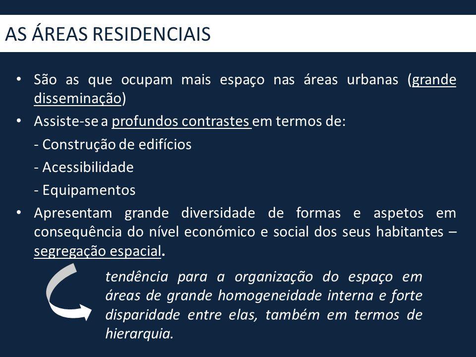 • São as que ocupam mais espaço nas áreas urbanas (grande disseminação) • Assiste-se a profundos contrastes em termos de: - Construção de edifícios -