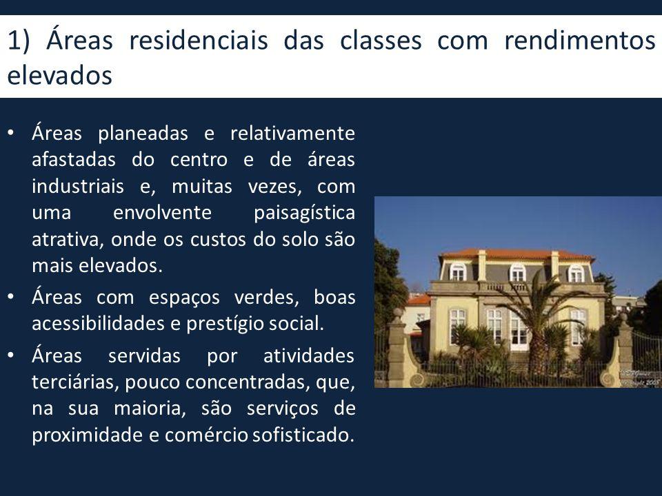1) Áreas residenciais das classes com rendimentos elevados • Áreas planeadas e relativamente afastadas do centro e de áreas industriais e, muitas veze