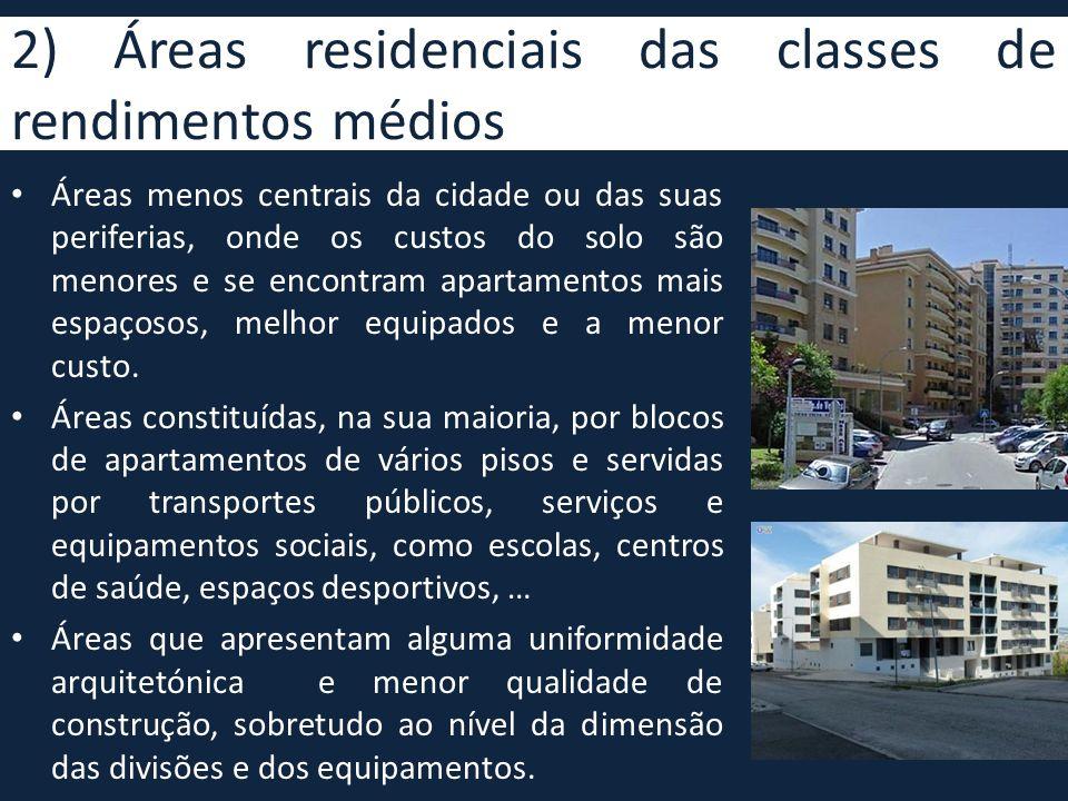 2) Áreas residenciais das classes de rendimentos médios • Áreas menos centrais da cidade ou das suas periferias, onde os custos do solo são menores e