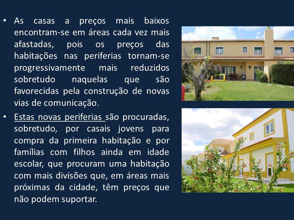 • As casas a preços mais baixos encontram-se em áreas cada vez mais afastadas, pois os preços das habitações nas periferias tornam-se progressivamente