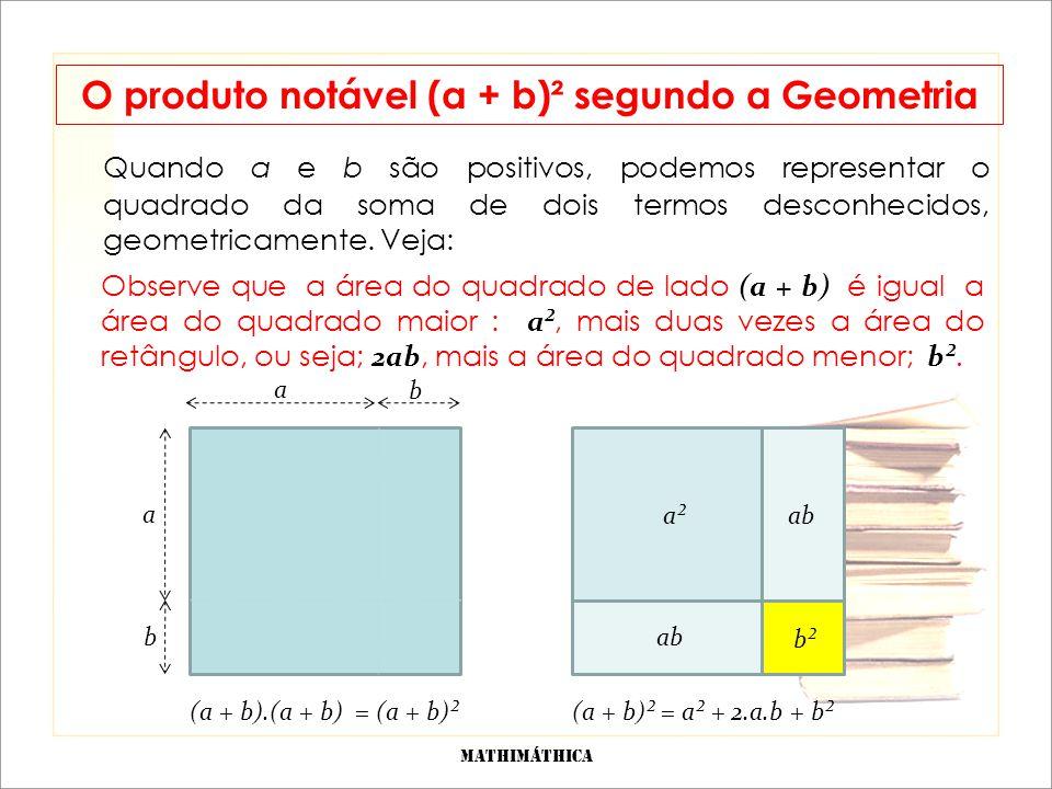 Quadrado da diferença de dois termos: (a - b)² O produto (a - b)(a - b) = (a - b)² é chamado de produto notável, pois aparece com frequência no cálculo algébrico.