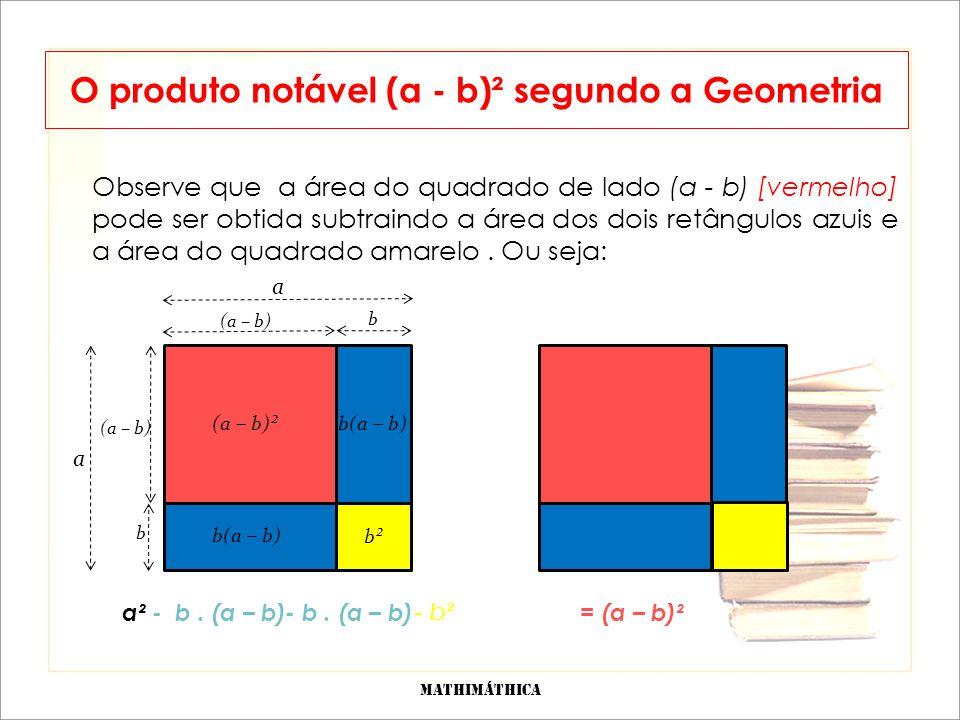 Observe que a área do quadrado de lado (a - b) [vermelho] pode ser obtida subtraindo a área dos dois retângulos azuis e a área do quadrado amarelo.