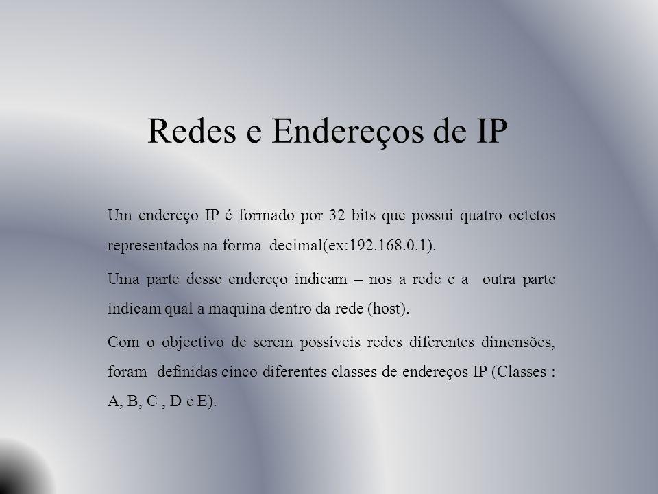 Analise das três principais classes A classe A possui um conjunto de endereços que vão desde o 1.0.0.0 até 126.0.0, onde o primeiro octeto (ex: primeiros 8 bits N.H.H.H) de um endereço IP identifica a rede e os restantes 3 octetos (24 bits) são para identificar os host desta rede.