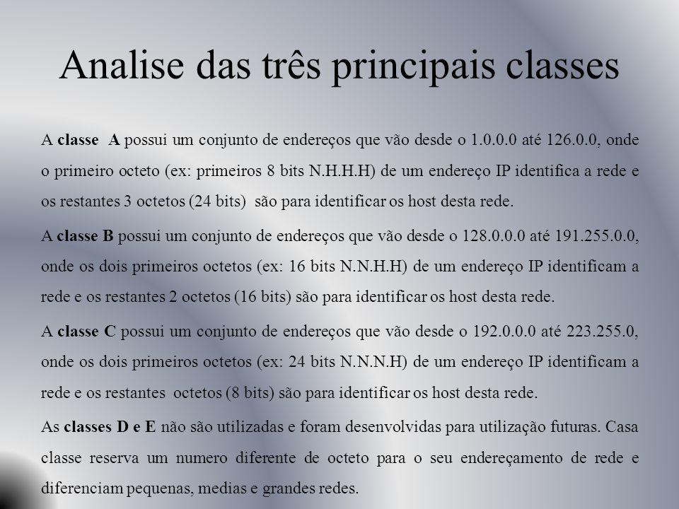 Analise das três principais classes A classe A possui um conjunto de endereços que vão desde o 1.0.0.0 até 126.0.0, onde o primeiro octeto (ex: primei