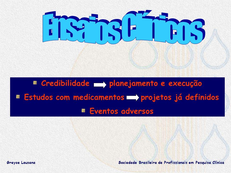 Credibilidade planejamento e execução Estudos com medicamentos projetos já definidos Eventos adversos Greyce LousanaSociedade Brasileira de Profissionais em Pesquisa Clínica
