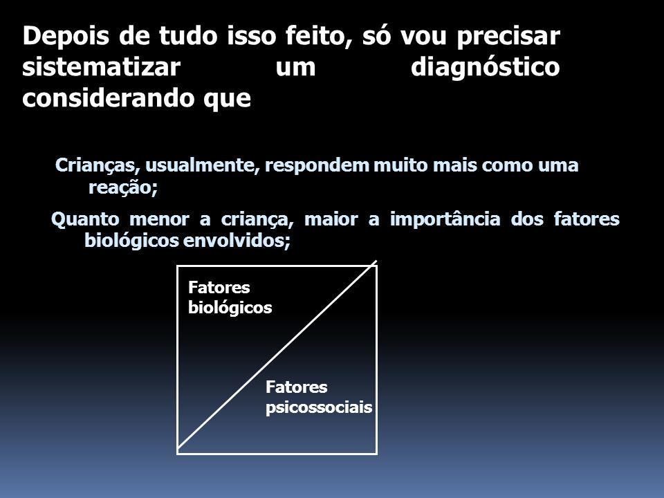 Fatores biológicos Fatores psicossociais Depois de tudo isso feito, só vou precisar sistematizar um diagnóstico considerando que Quanto menor a criança, maior a importância dos fatores biológicos envolvidos; Crianças, usualmente, respondem muito mais como uma reação;