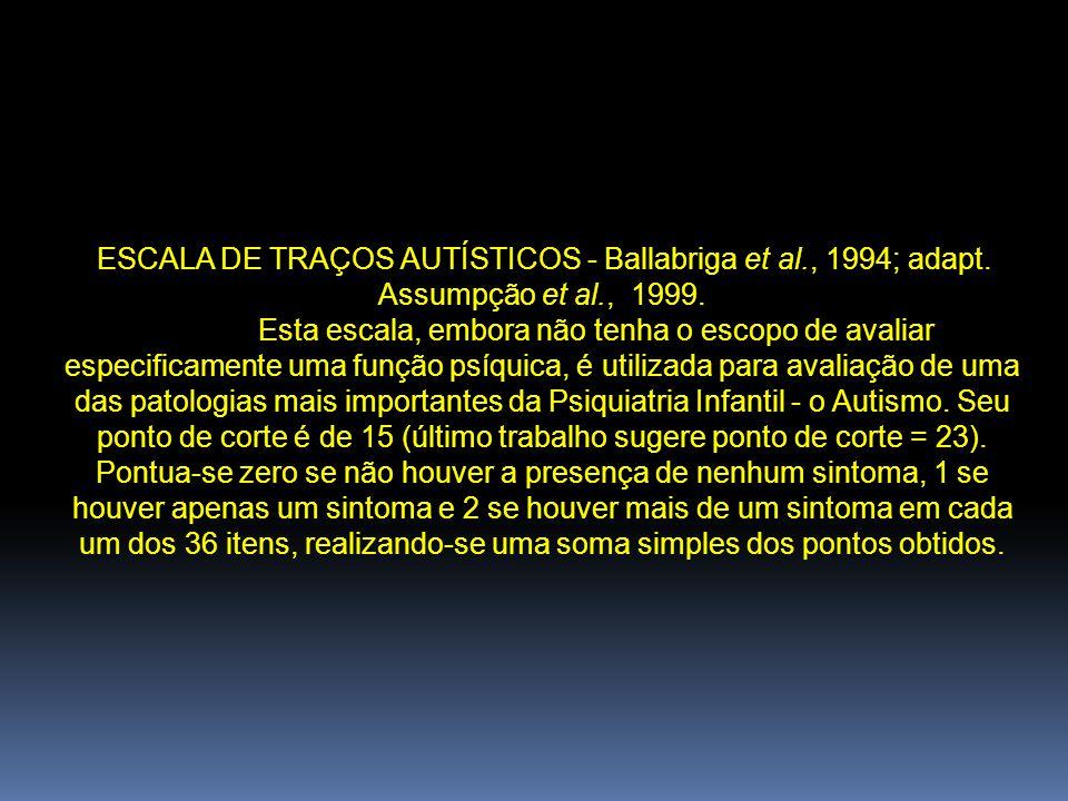 ESCALA DE TRAÇOS AUTÍSTICOS - Ballabriga et al., 1994; adapt. Assumpção et al., 1999. Esta escala, embora não tenha o escopo de avaliar especificament