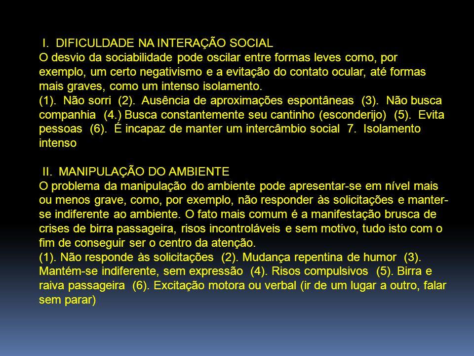 I. DIFICULDADE NA INTERAÇÃO SOCIAL O desvio da sociabilidade pode oscilar entre formas leves como, por exemplo, um certo negativismo e a evitação do c