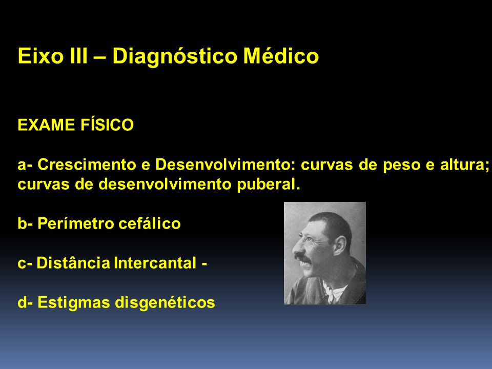 Eixo III – Diagnóstico Médico EXAME FÍSICO a- Crescimento e Desenvolvimento: curvas de peso e altura; curvas de desenvolvimento puberal.