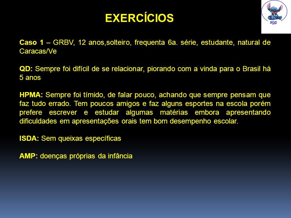 EXERCÍCIOS Caso 1 – GRBV, 12 anos,solteiro, frequenta 6a.