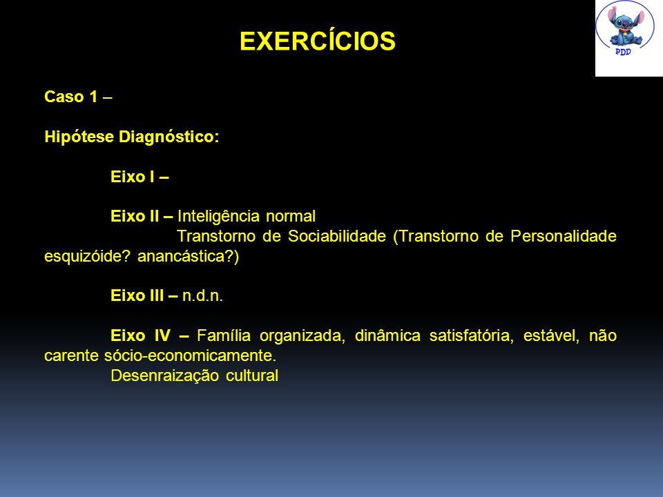 EXERCÍCIOS Caso 1 – Hipótese Diagnóstico: Eixo I – Eixo II – Inteligência normal Transtorno de Sociabilidade (Transtorno de Personalidade esquizóide.
