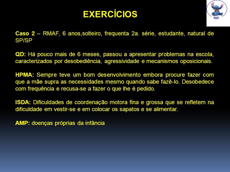 EXERCÍCIOS Caso 2 – RMAF, 6 anos,solteiro, frequenta 2a.