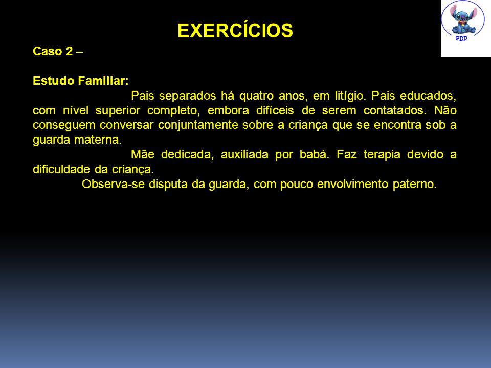 EXERCÍCIOS Caso 2 – Estudo Familiar: Pais separados há quatro anos, em litígio.