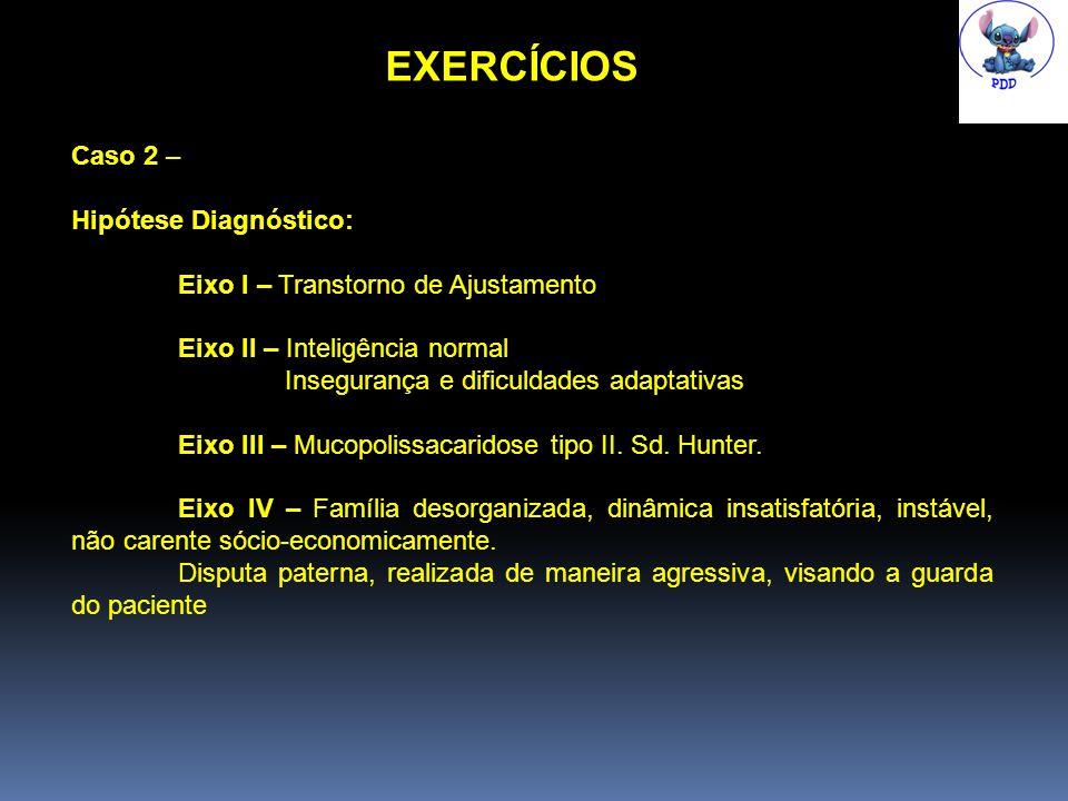 EXERCÍCIOS Caso 2 – Hipótese Diagnóstico: Eixo I – Transtorno de Ajustamento Eixo II – Inteligência normal Insegurança e dificuldades adaptativas Eixo III – Mucopolissacaridose tipo II.