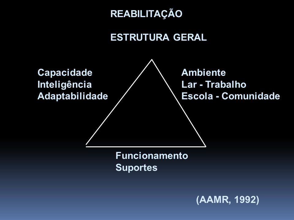 REABILITAÇÃO ESTRUTURA GERAL Capacidade Inteligência Adaptabilidade Ambiente Lar - Trabalho Escola - Comunidade Funcionamento Suportes (AAMR, 1992)