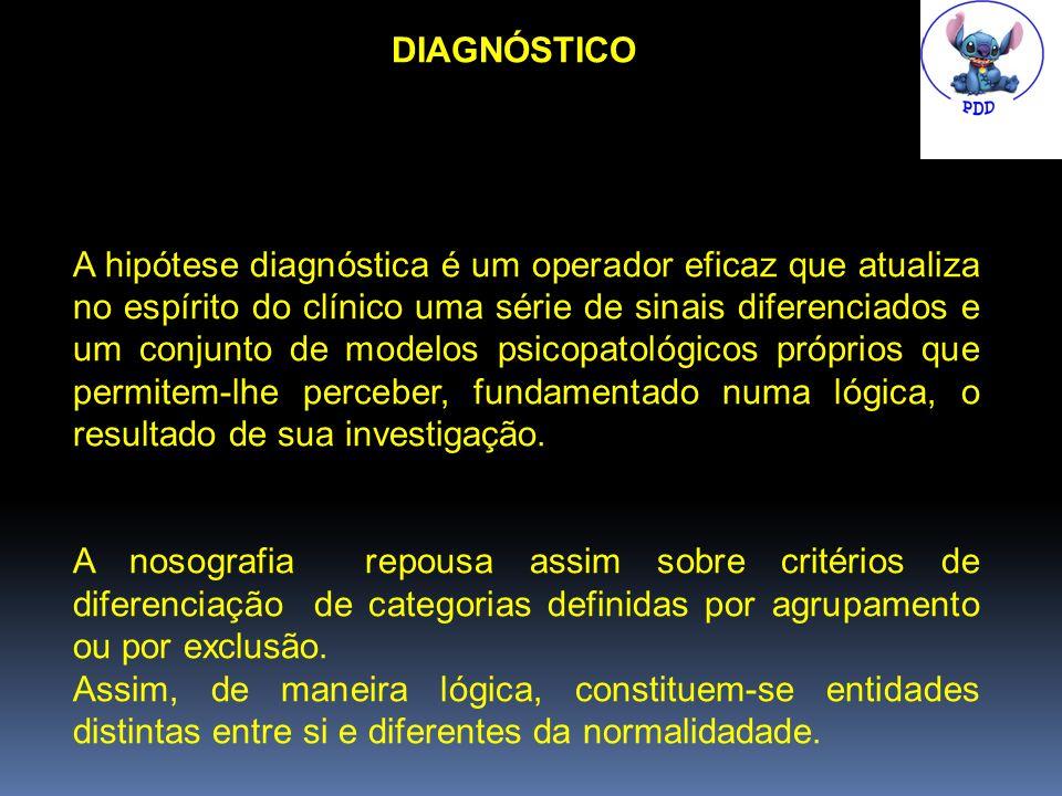 DIAGNÓSTICO A hipótese diagnóstica é um operador eficaz que atualiza no espírito do clínico uma série de sinais diferenciados e um conjunto de modelos psicopatológicos próprios que permitem-lhe perceber, fundamentado numa lógica, o resultado de sua investigação.
