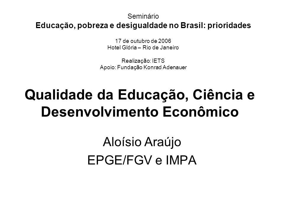 Qualidade da Educação, Ciência e Desenvolvimento Econômico Aloísio Araújo EPGE/FGV e IMPA Seminário Educação, pobreza e desigualdade no Brasil: priori