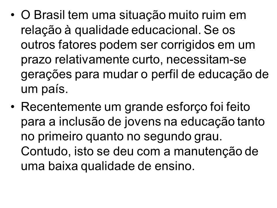 •O Brasil tem uma situação muito ruim em relação à qualidade educacional. Se os outros fatores podem ser corrigidos em um prazo relativamente curto, n