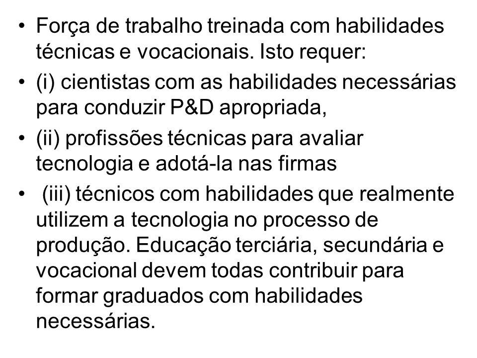•Força de trabalho treinada com habilidades técnicas e vocacionais. Isto requer: •(i) cientistas com as habilidades necessárias para conduzir P&D apro