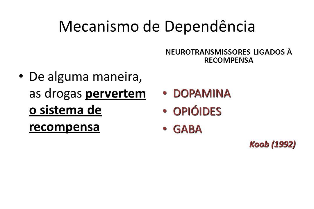 Mecanismo de Dependência • De alguma maneira, as drogas pervertem o sistema de recompensa NEUROTRANSMISSORES LIGADOS À RECOMPENSA • DOPAMINA • OPIÓIDE