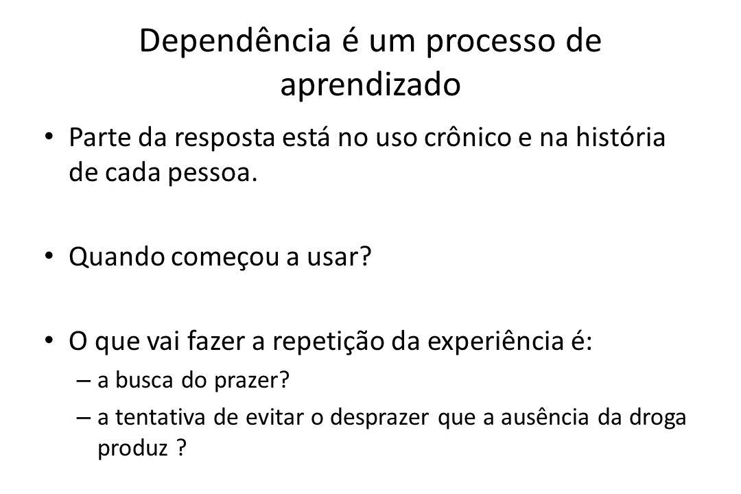 Dependência é um processo de aprendizado • Parte da resposta está no uso crônico e na história de cada pessoa. • Quando começou a usar? • O que vai fa