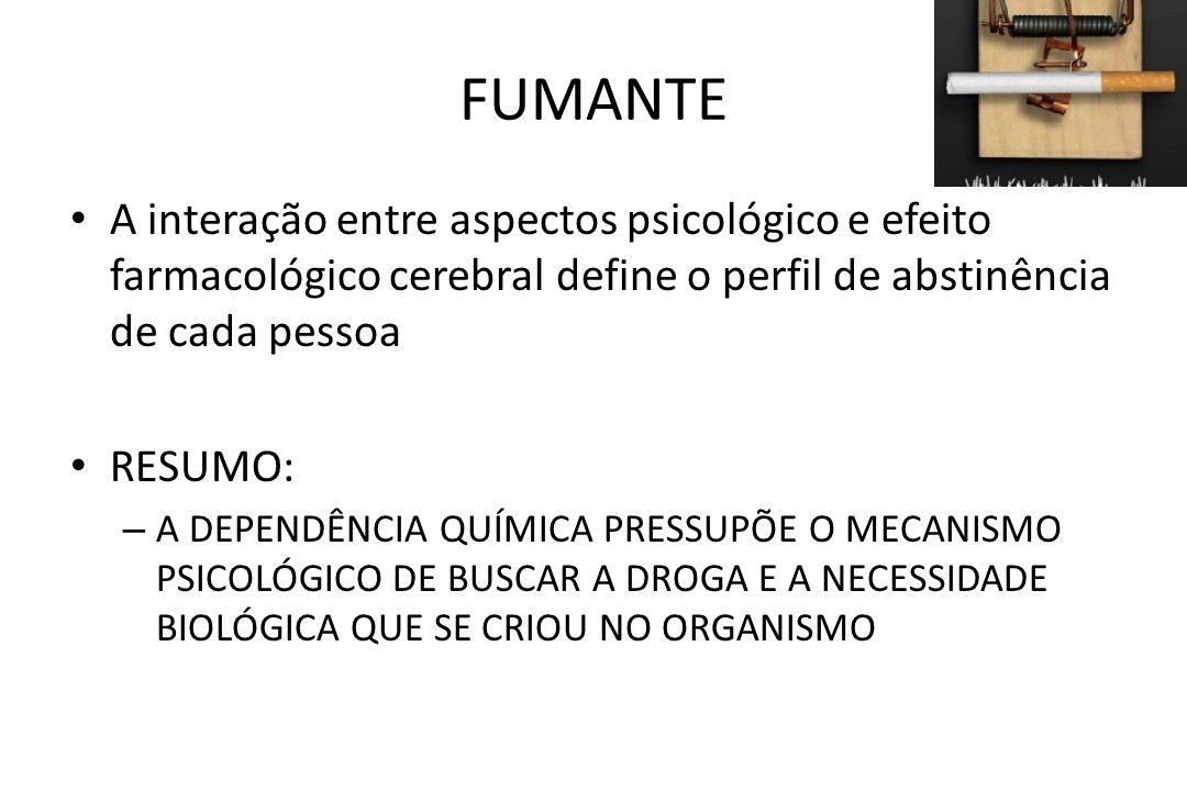 FUMANTE • A interação entre aspectos psicológico e efeito farmacológico cerebral define o perfil de abstinência de cada pessoa • RESUMO: – A DEPENDÊNC