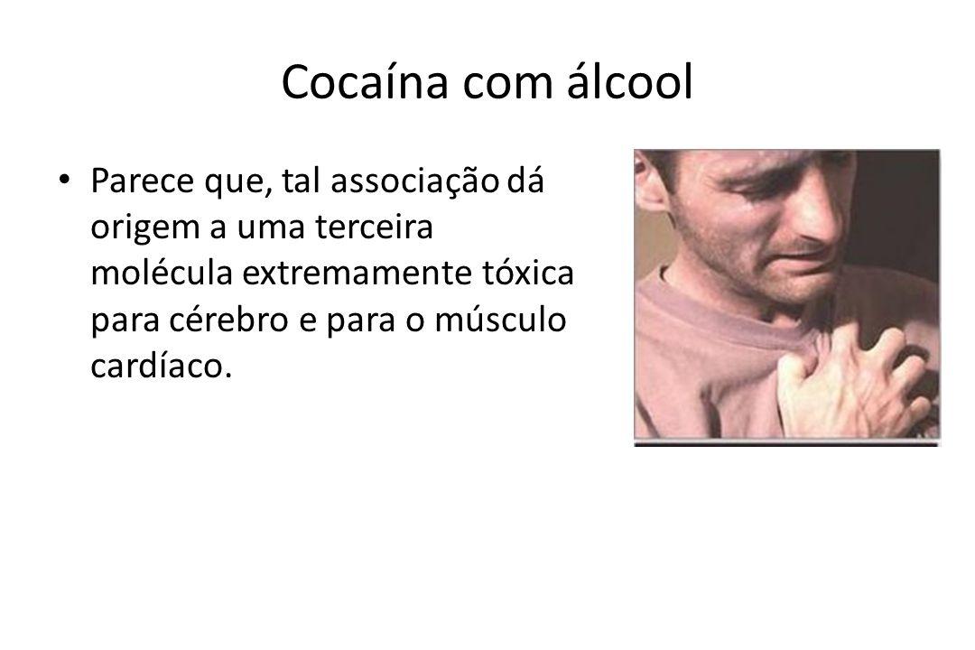 Cocaína com álcool • Parece que, tal associação dá origem a uma terceira molécula extremamente tóxica para cérebro e para o músculo cardíaco.