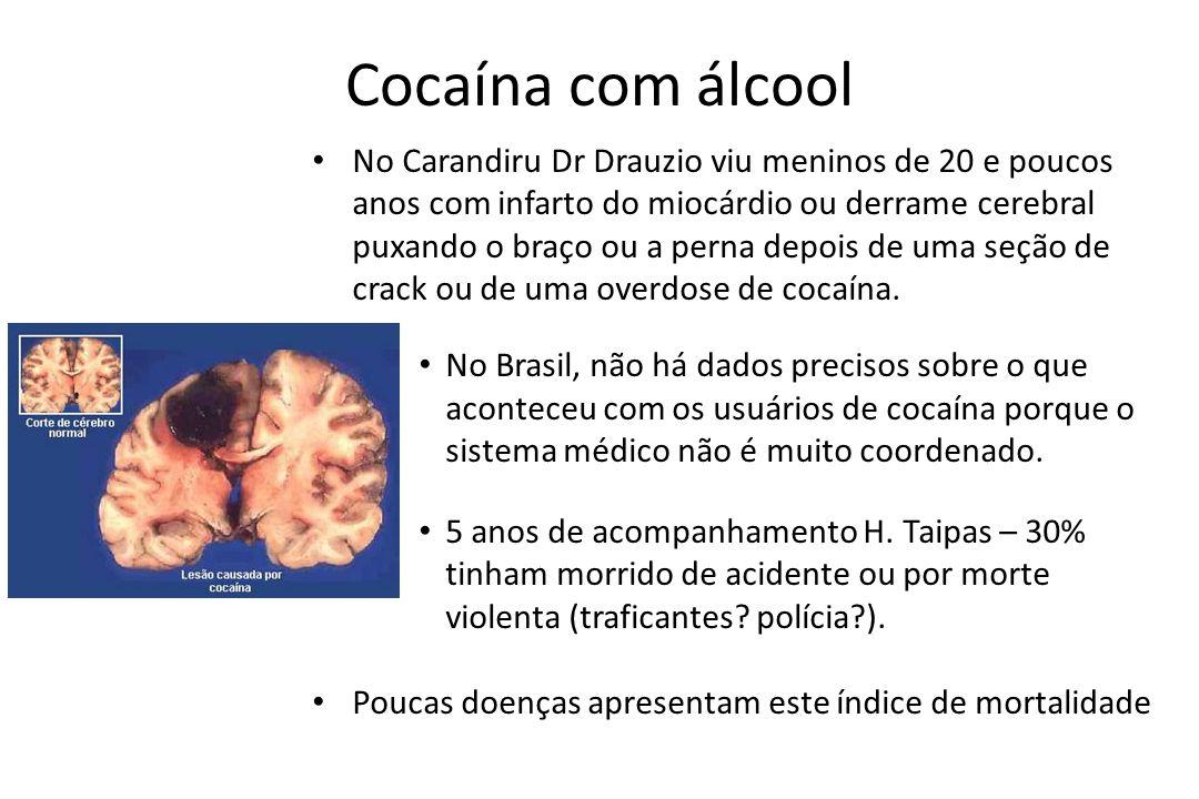 Cocaína com álcool • No Carandiru Dr Drauzio viu meninos de 20 e poucos anos com infarto do miocárdio ou derrame cerebral puxando o braço ou a perna d