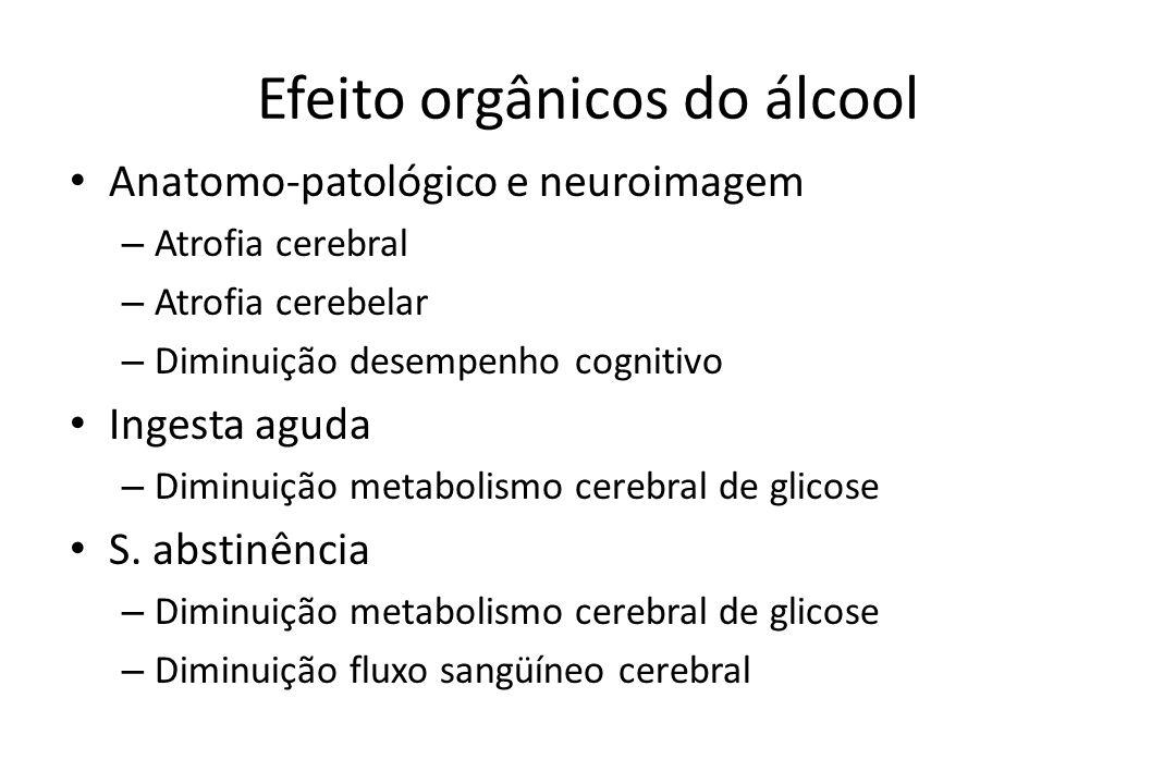 Efeito orgânicos do álcool • Anatomo-patológico e neuroimagem – Atrofia cerebral – Atrofia cerebelar – Diminuição desempenho cognitivo • Ingesta aguda