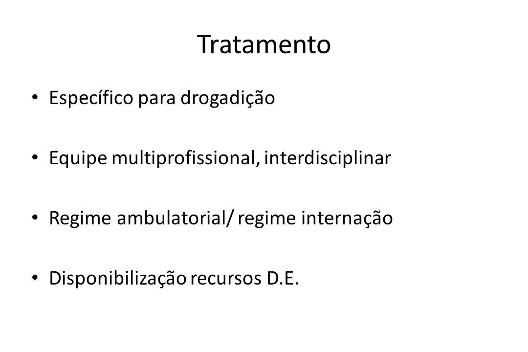 Tratamento • Específico para drogadição • Equipe multiprofissional, interdisciplinar • Regime ambulatorial/ regime internação • Disponibilização recur