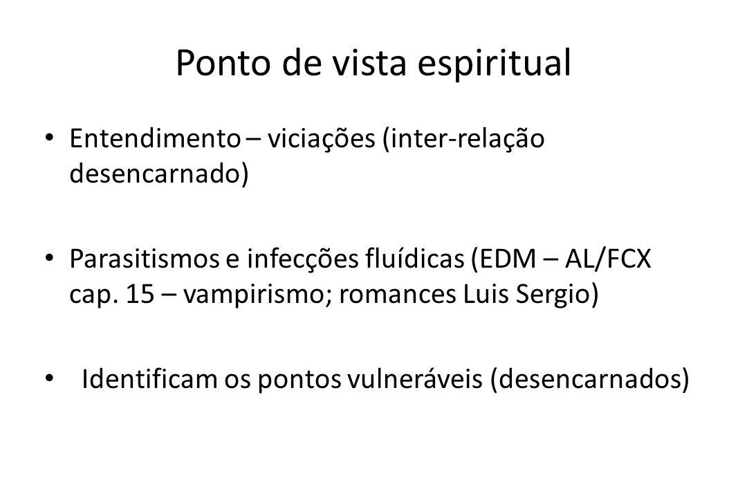 Ponto de vista espiritual • Entendimento – viciações (inter-relação desencarnado) • Parasitismos e infecções fluídicas (EDM – AL/FCX cap. 15 – vampiri