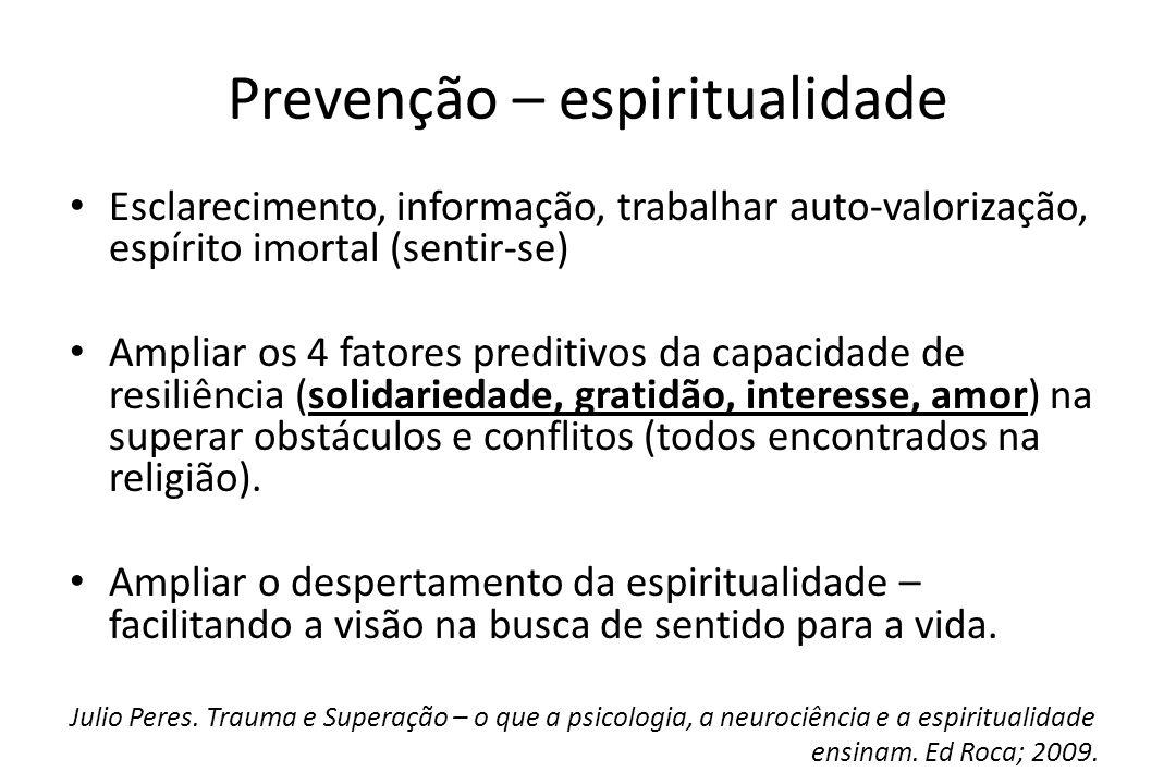 Prevenção – espiritualidade • Esclarecimento, informação, trabalhar auto-valorização, espírito imortal (sentir-se) • Ampliar os 4 fatores preditivos d