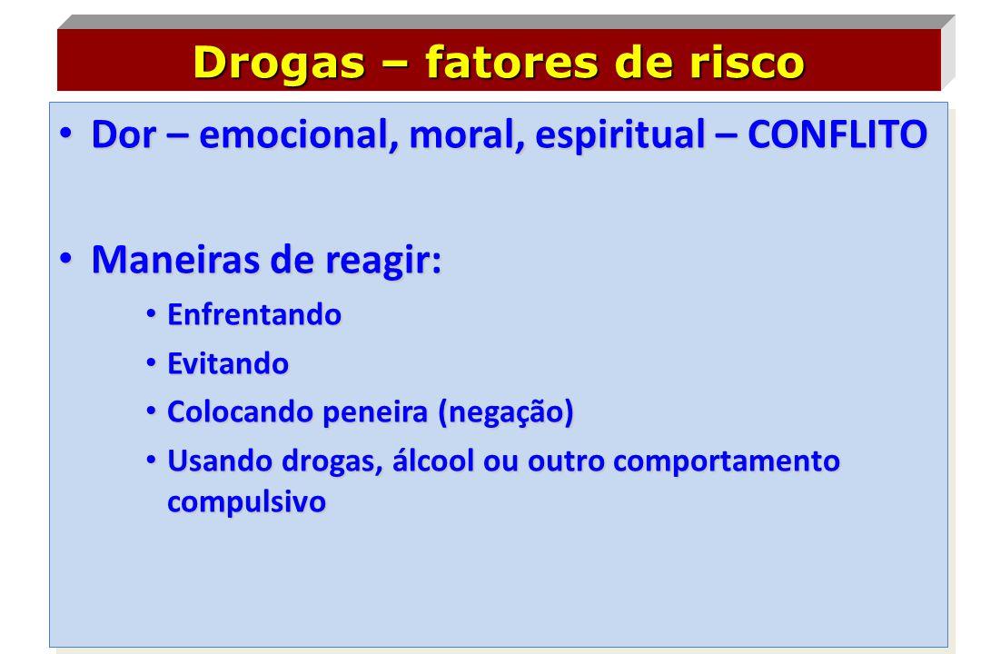 • Dor – emocional, moral, espiritual – CONFLITO • Maneiras de reagir: • Enfrentando • Evitando • Colocando peneira (negação) • Usando drogas, álcool o