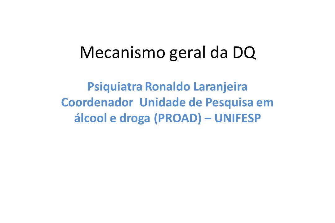 Mecanismo geral da DQ Psiquiatra Ronaldo Laranjeira Coordenador Unidade de Pesquisa em álcool e droga (PROAD) – UNIFESP