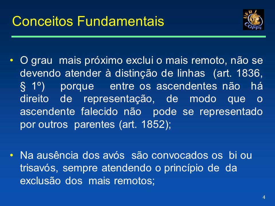 4 Conceitos Fundamentais •O grau mais próximo exclui o mais remoto, não se devendo atender à distinção de linhas (art.