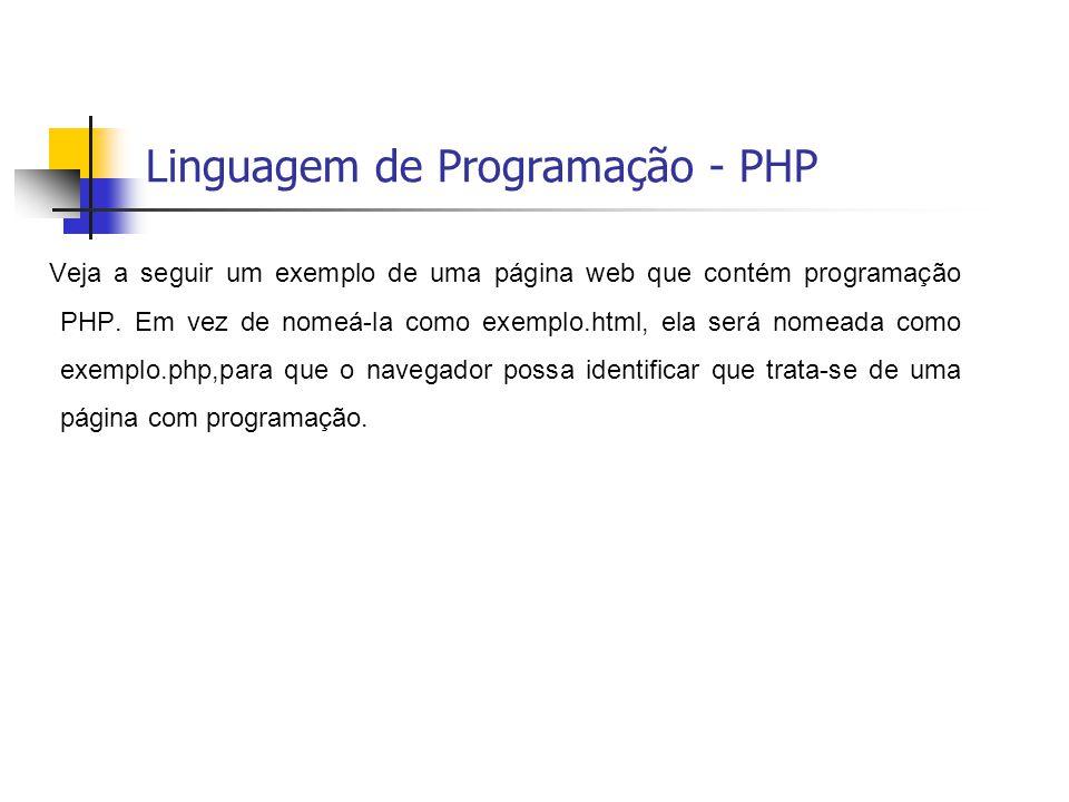 Linguagem de Programação - PHP Veja a seguir um exemplo de uma página web que contém programação PHP. Em vez de nomeá-la como exemplo.html, ela será n