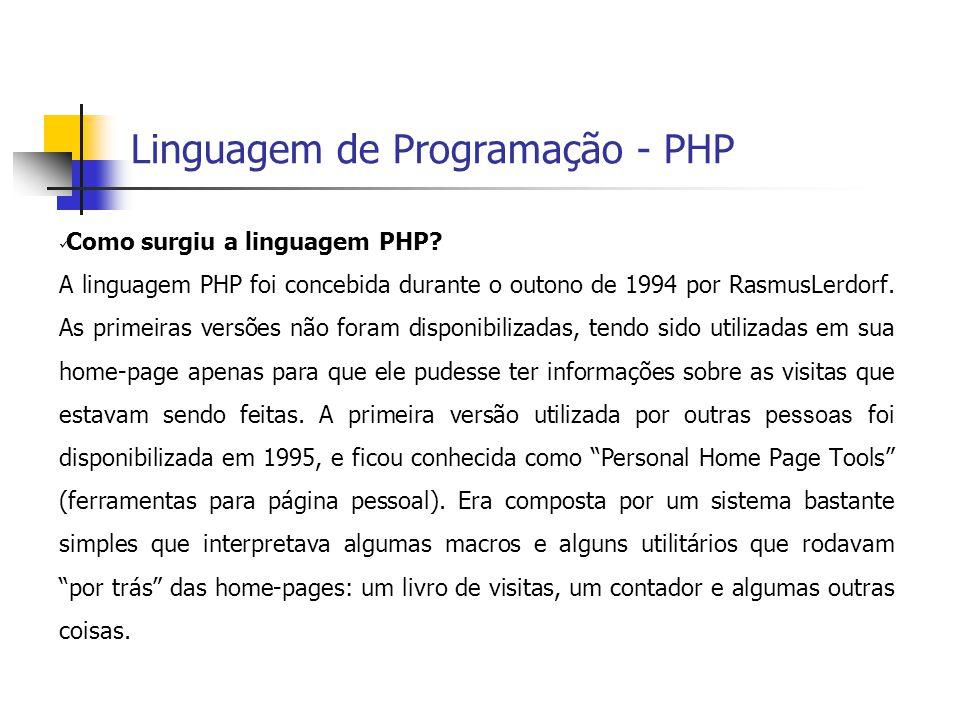  Como surgiu a linguagem PHP? A linguagem PHP foi concebida durante o outono de 1994 por RasmusLerdorf. As primeiras versões não foram disponibilizad