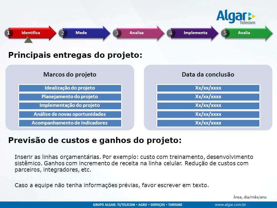Área, dia/mês/ano Principais entregas do projeto: Marcos do projeto Idealização do projetoPlanejamento do projetoImplementação do projetoAnálise de no
