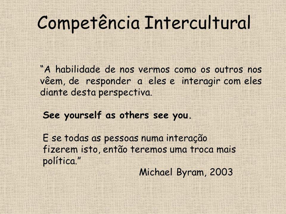 """Competência Intercultural """"A habilidade de nos vermos como os outros nos vêem, de responder a eles e interagir com eles diante desta perspectiva. See"""