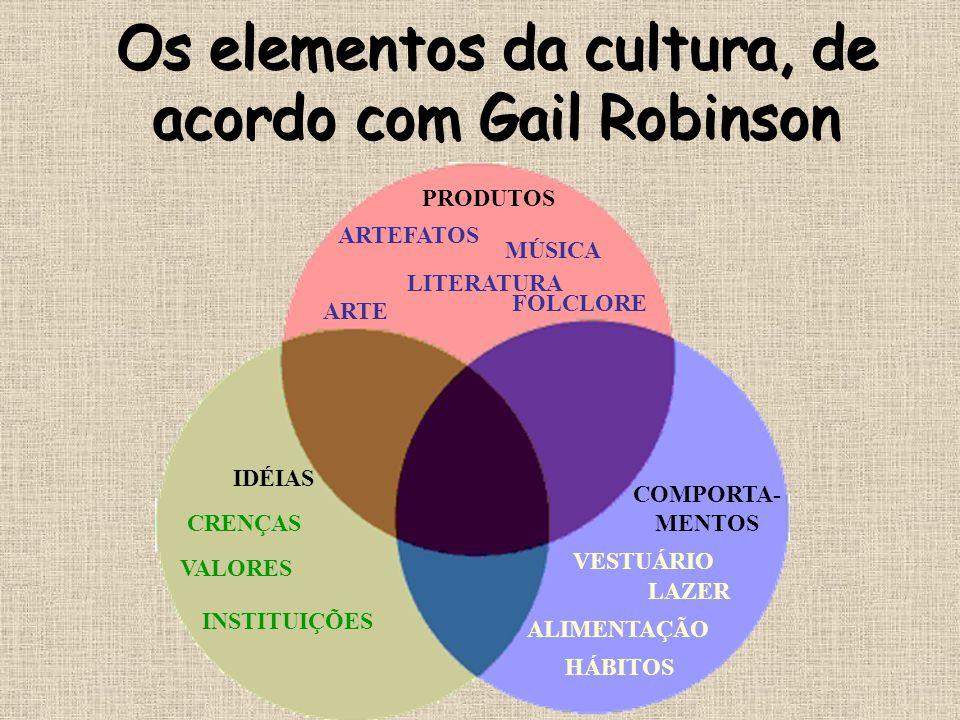 Os elementos da cultura, de acordo com Gail Robinson LITERATURA ARTE FOLCLORE MÚSICA ARTEFATOS IDÉIAS COMPORTA- MENTOS VALORES INSTITUIÇÕES VESTUÁRIO
