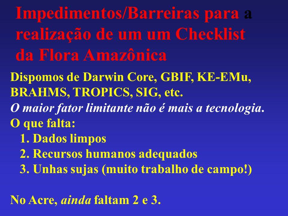 Impedimentos/Barreiras para a realização de um um Checklist da Flora Amazônica Dispomos de Darwin Core, GBIF, KE-EMu, BRAHMS, TROPICS, SIG, etc. O mai
