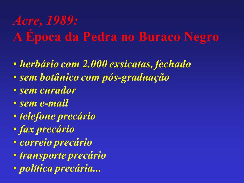Acre, 1989: A Época da Pedra no Buraco Negro • herbário com 2.000 exsicatas, fechado • sem botânico com pós-graduação • sem curador • sem e-mail • tel