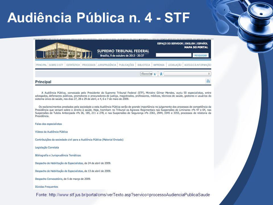 Audiência Pública n. 4 - STF Fonte: http://www.stf.jus.br/portal/cms/verTexto.asp?servico=processoAudienciaPublicaSaude