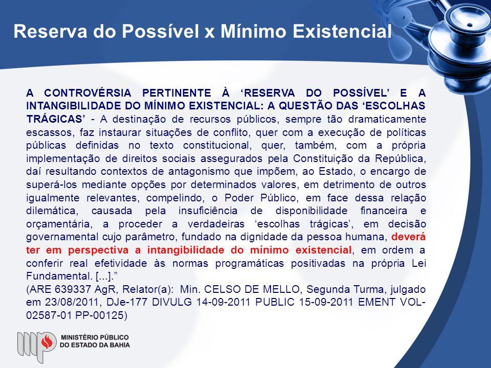 Reserva do Possível x Mínimo Existencial A CONTROVÉRSIA PERTINENTE À 'RESERVA DO POSSÍVEL' E A INTANGIBILIDADE DO MÍNIMO EXISTENCIAL: A QUESTÃO DAS 'E