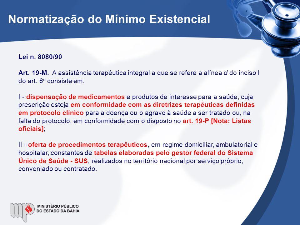 Normatização do Mínimo Existencial Lei n. 8080/90 Art. 19-M. A assistência terapêutica integral a que se refere a alínea d do inciso I do art. 6 o con